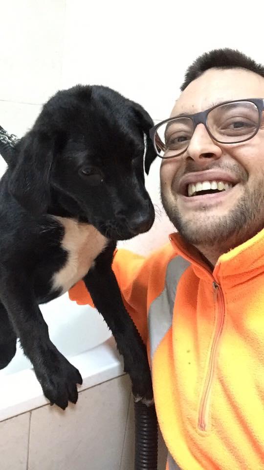 Un ragazzo che scatta una foto con un cane