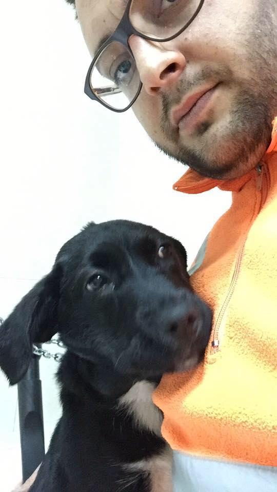 un ragazzo con un cane nero vicino