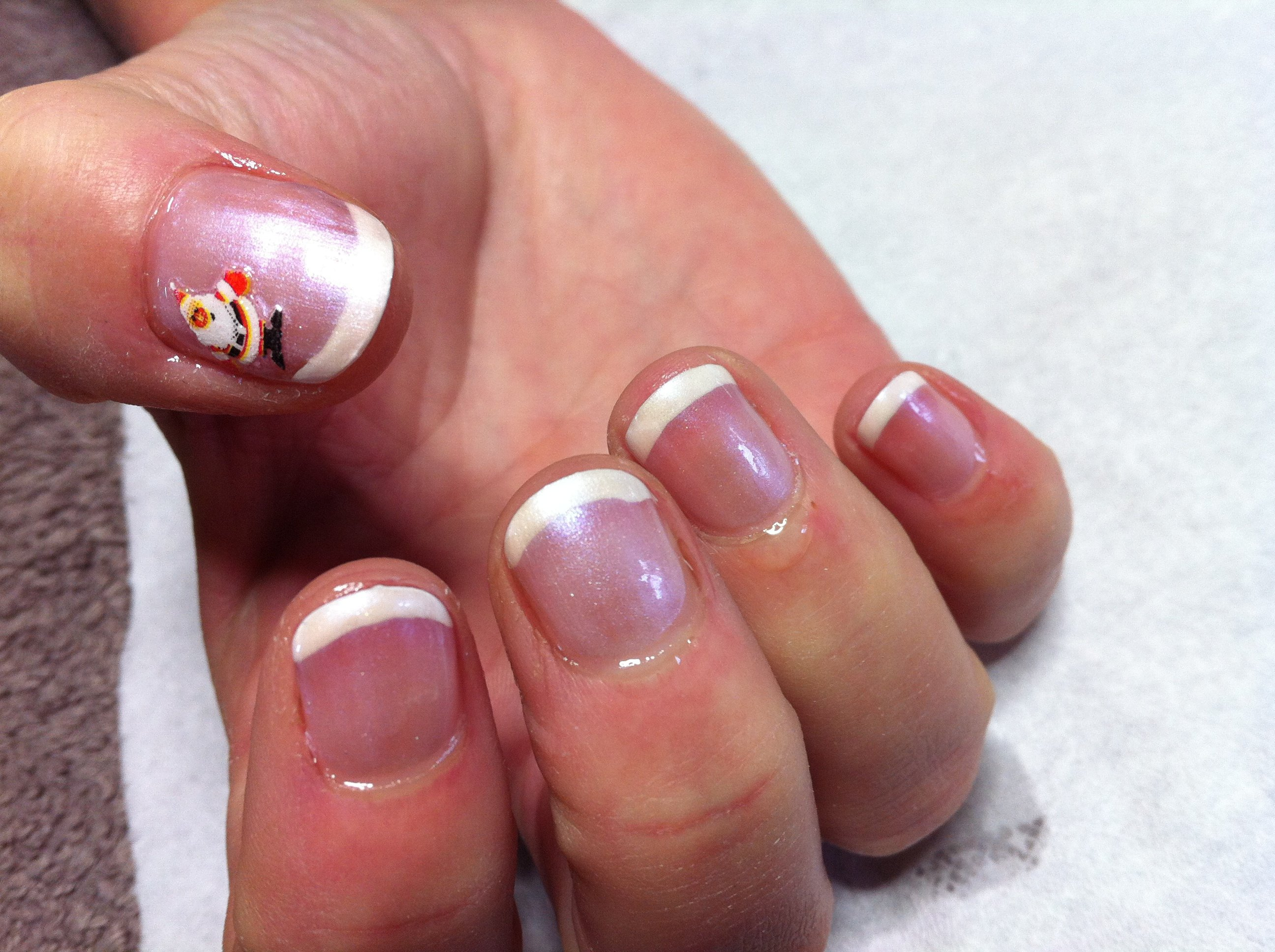 French polish with christmas sticker