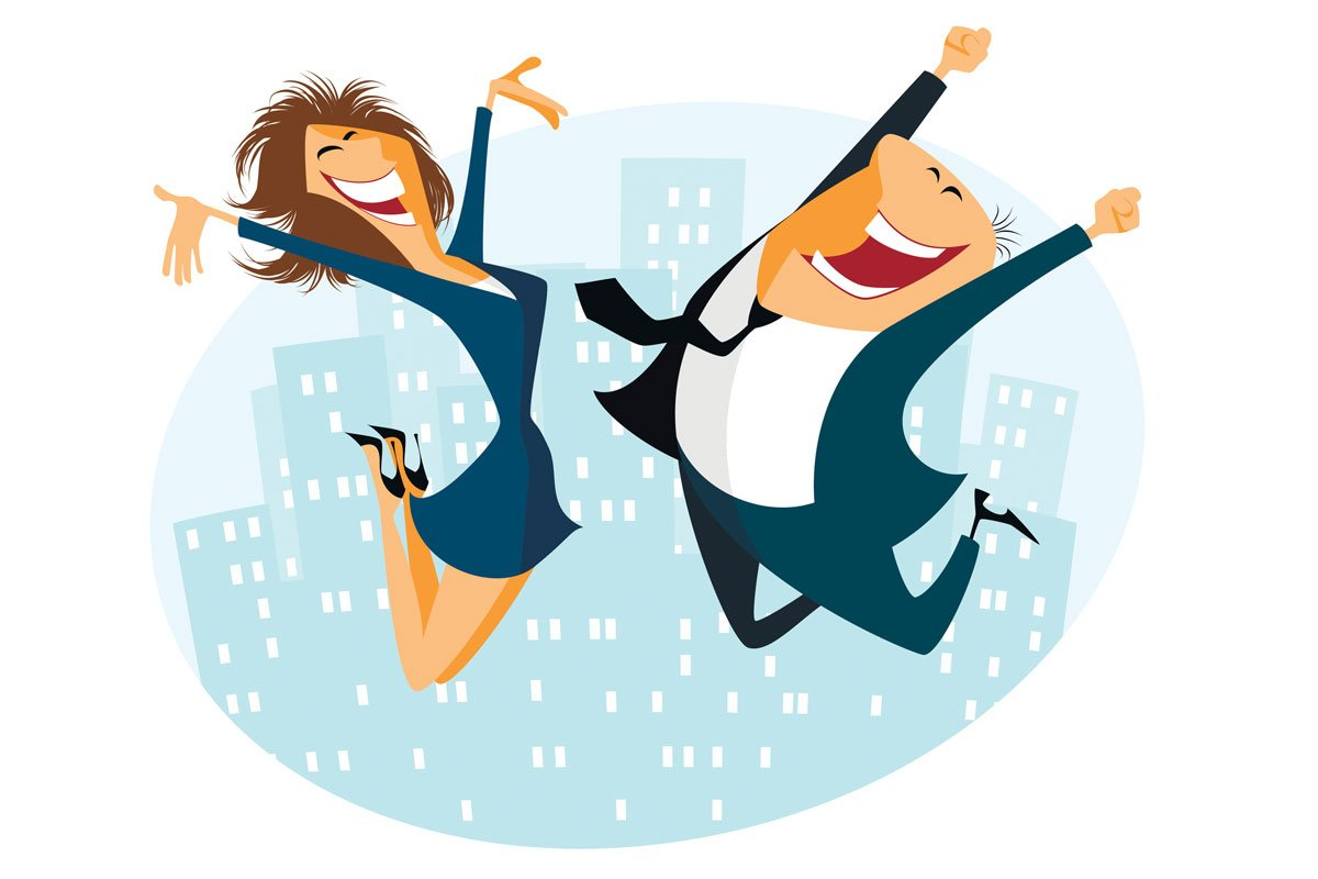 business woman and man jumping