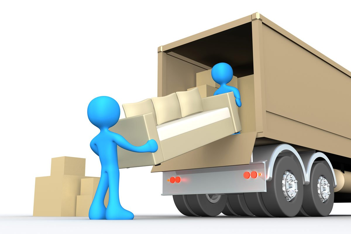 blue 3D figures moving couch off truck