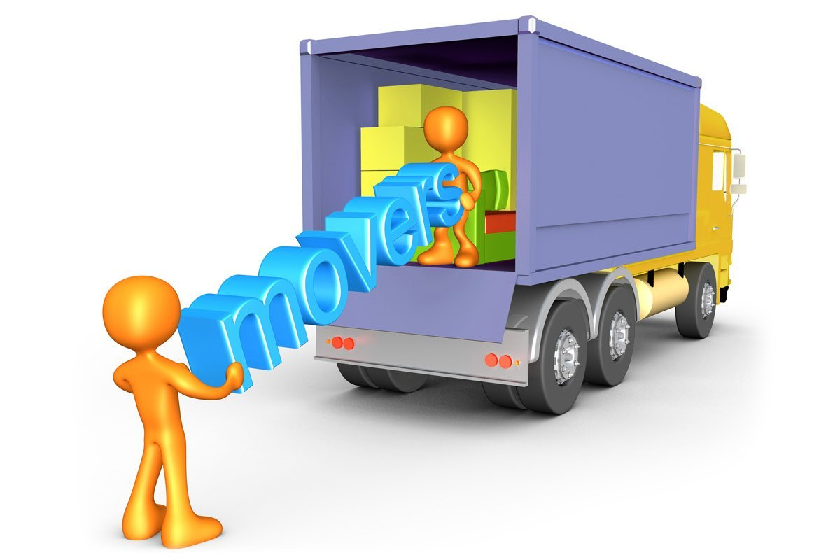 orange 3D movers loading truck