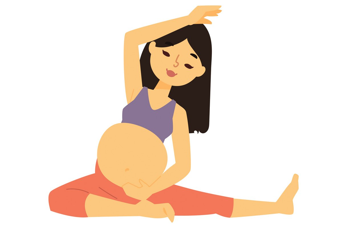 pregnant cartoon woman doing yoga