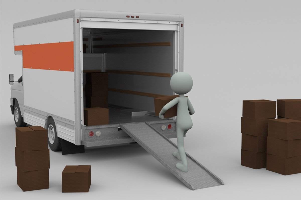 white 3D figure loading boxes into truck