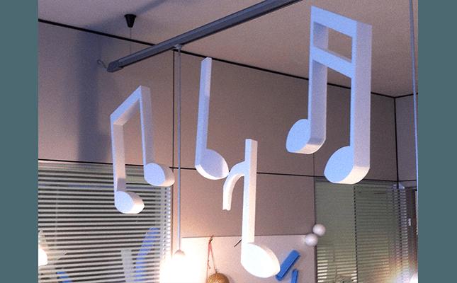 note musicali in polistirolo
