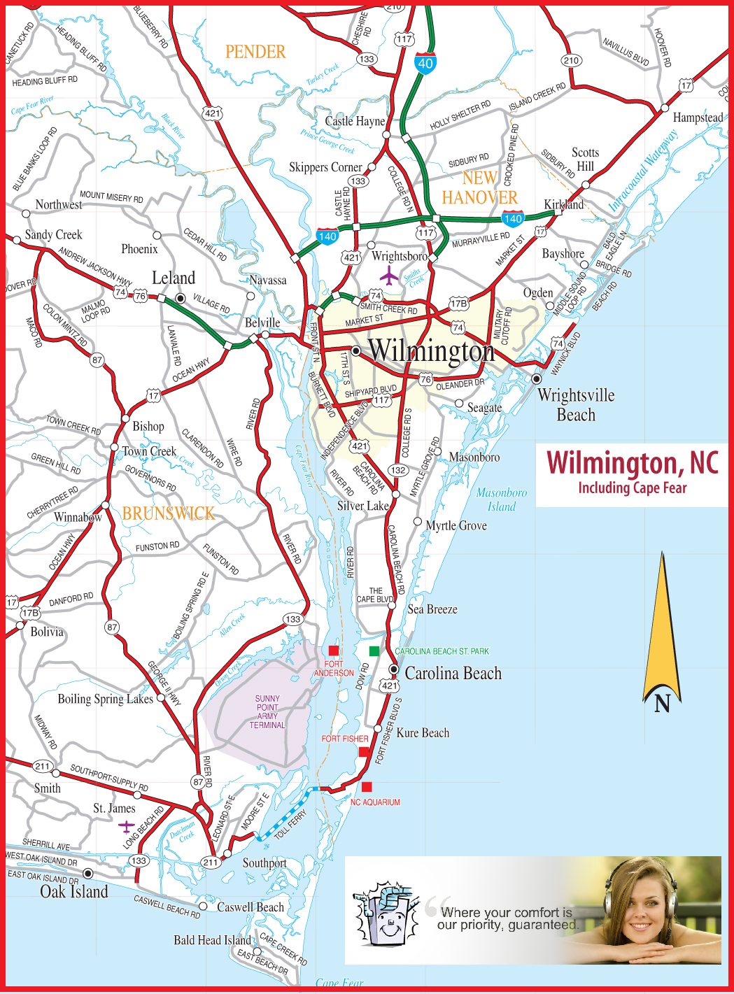 ac repair, air condtioning repairon  service area map Wilmington nc