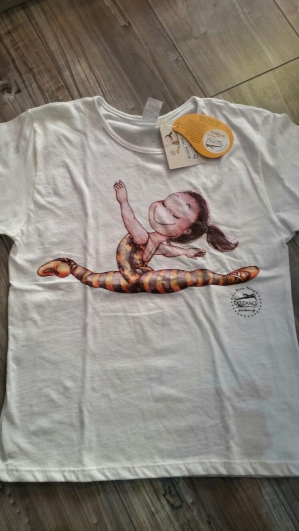 maglietta bianca ballerina stampata