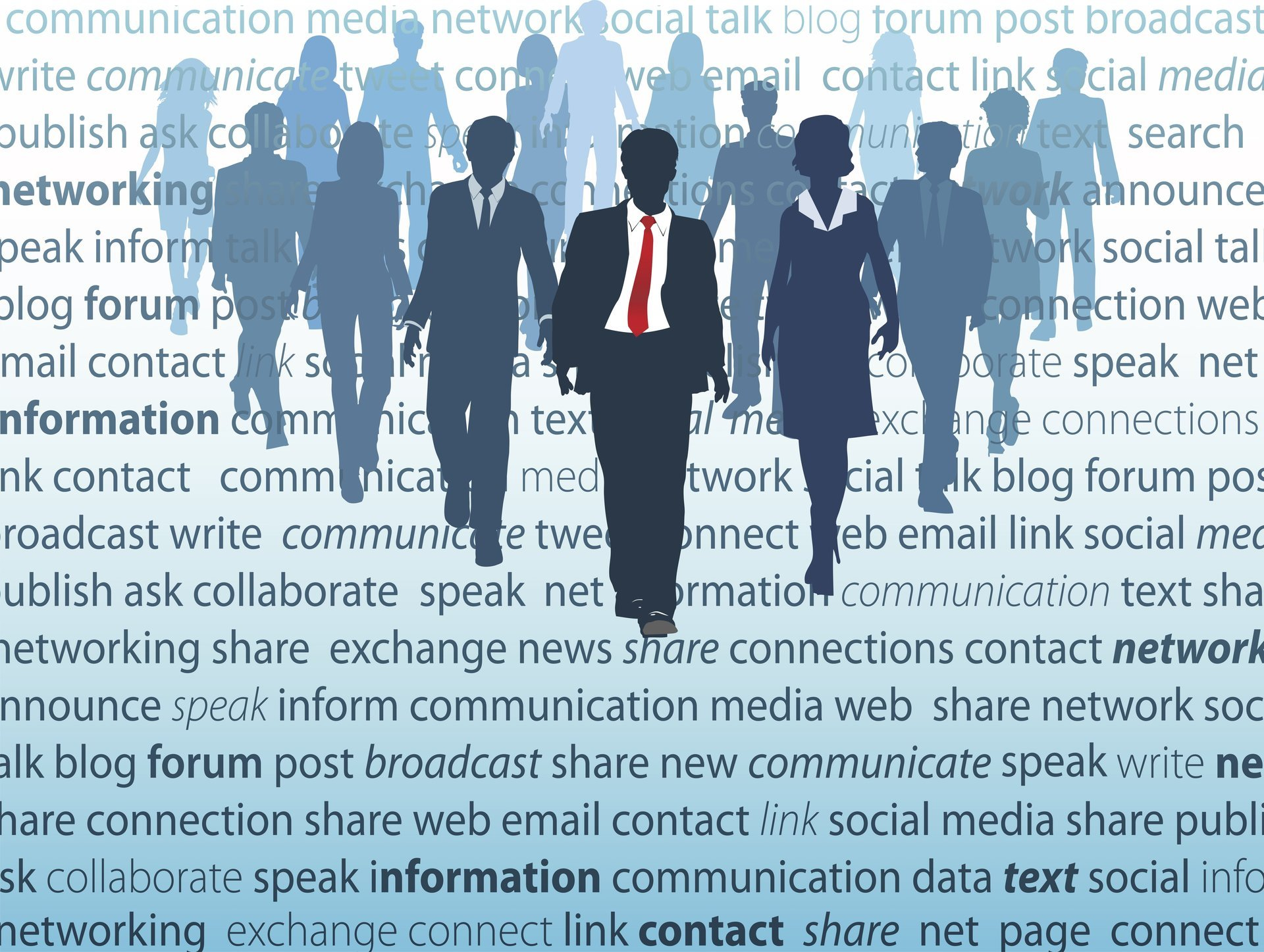 Business people in suits against background of business and networking words