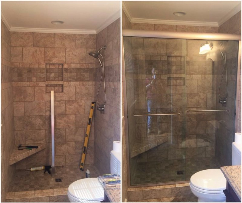 Before and After Shower Doors