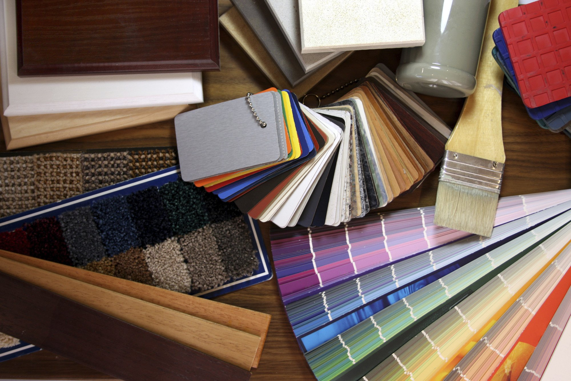 a selection of colour swatches and carpet samples