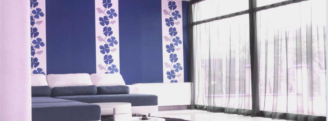 room themed in lilac and white
