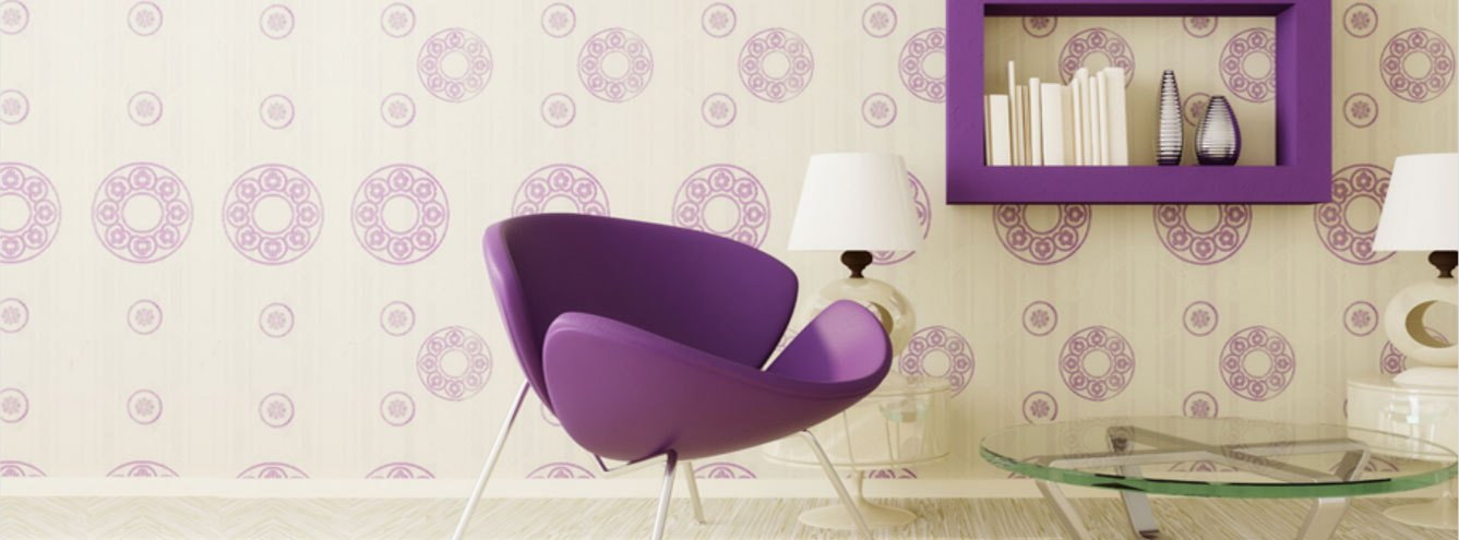 sixties style purple pop art chair against cream and purple floral motif wallpaper