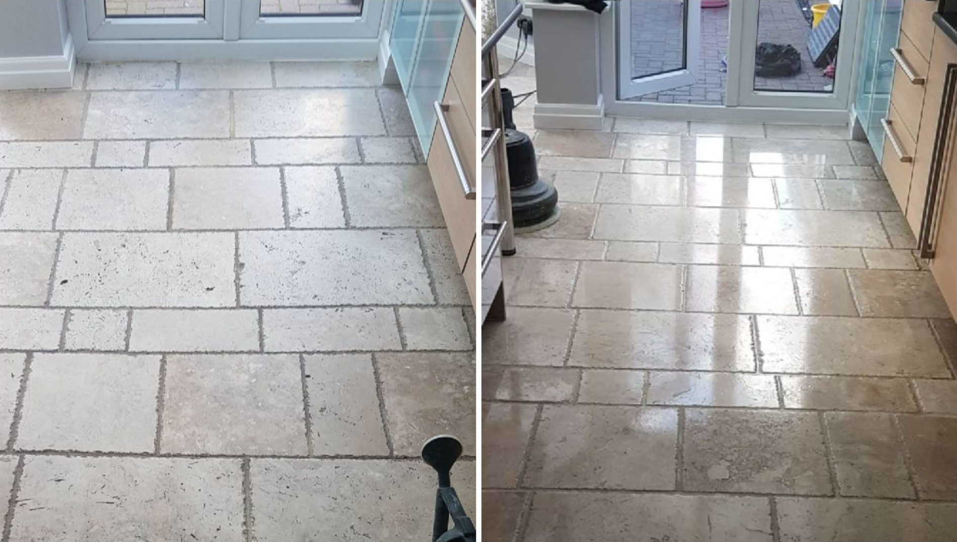 Beautiful Travertine Stone Tile Floor Cleaning Polishing