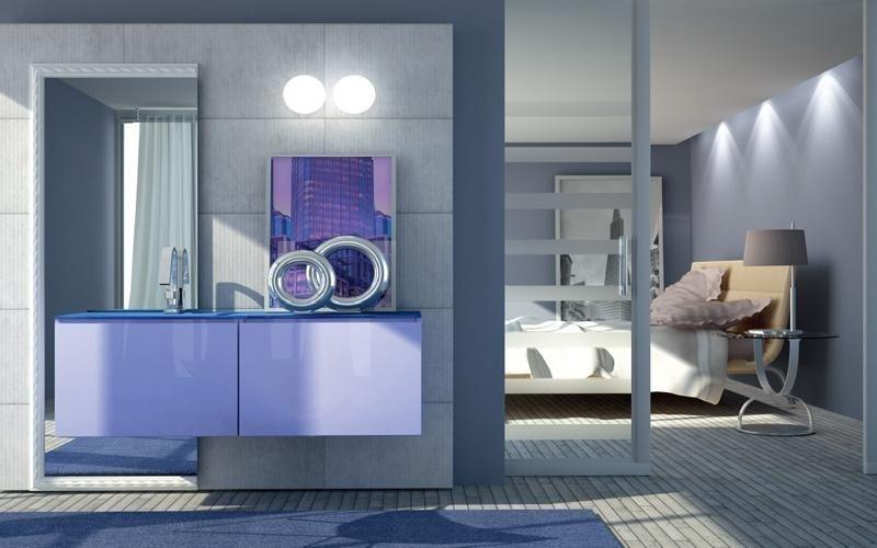 bagno con top cristallo blu