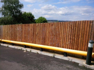 wooden fence and road cleaned