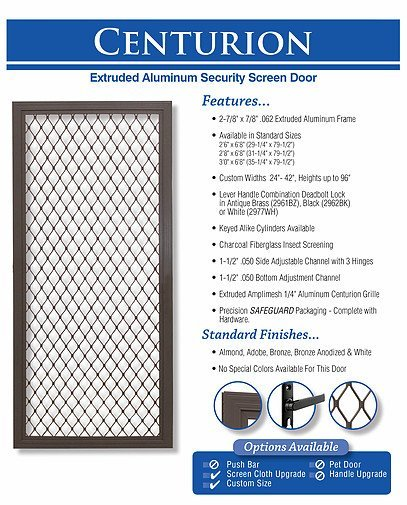 king's glass  centurion screen door