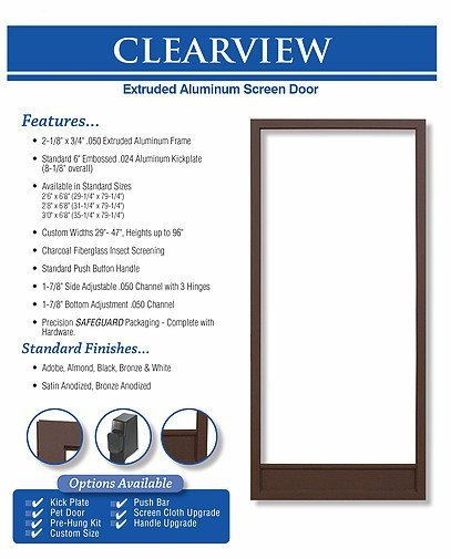 king's glass clearview screen door