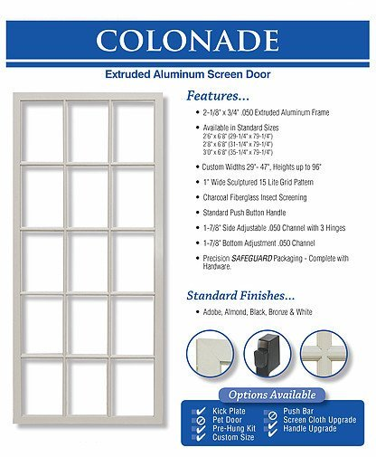 king's glass  colonade screen door