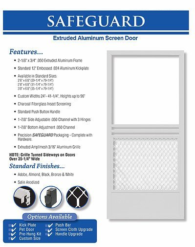 king's glass  safeguard screen door