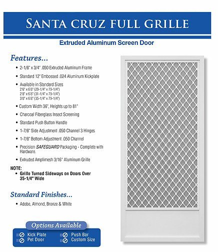 king's glass  santa cruz full grille screen door