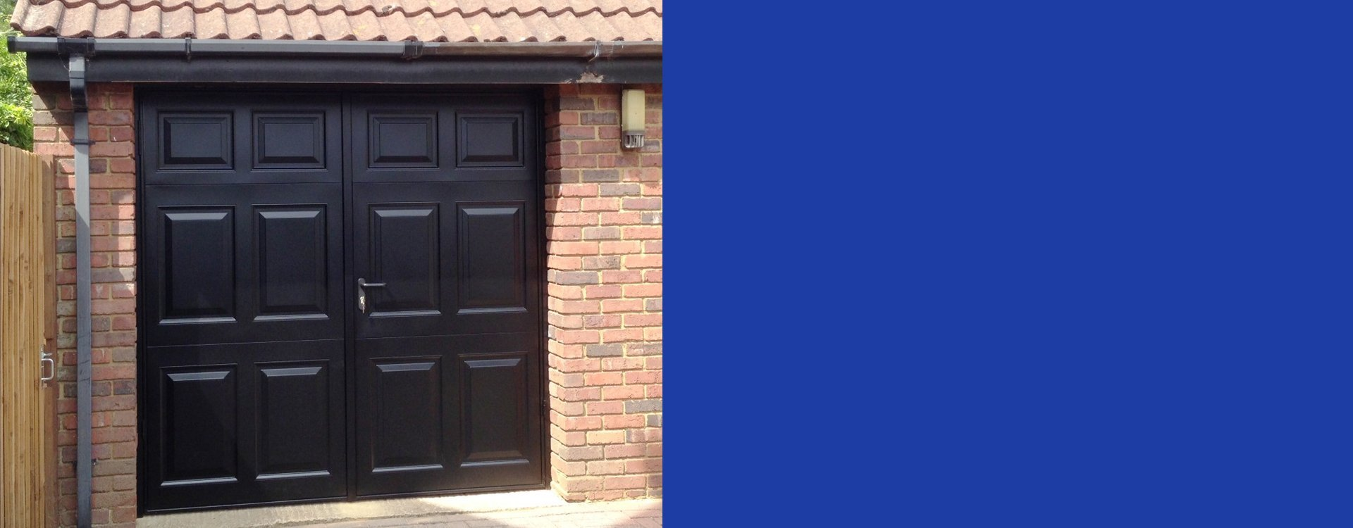 Side hinged garage doors expertly installed in hertfordshire Garage with doors on both sides