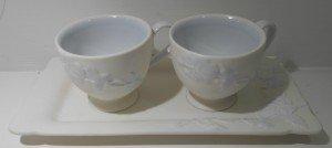 tazze e vassoio in ceramica