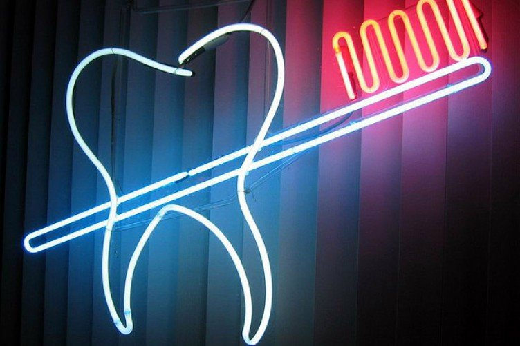 neon tooth and brush
