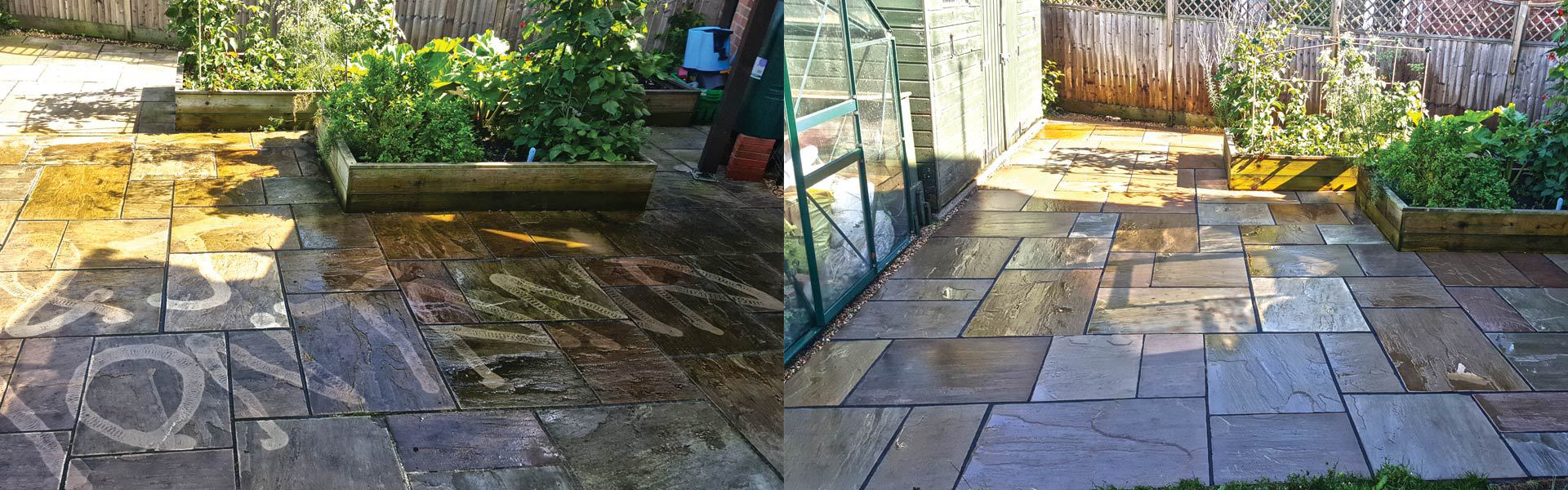 image of a garden pressure washing