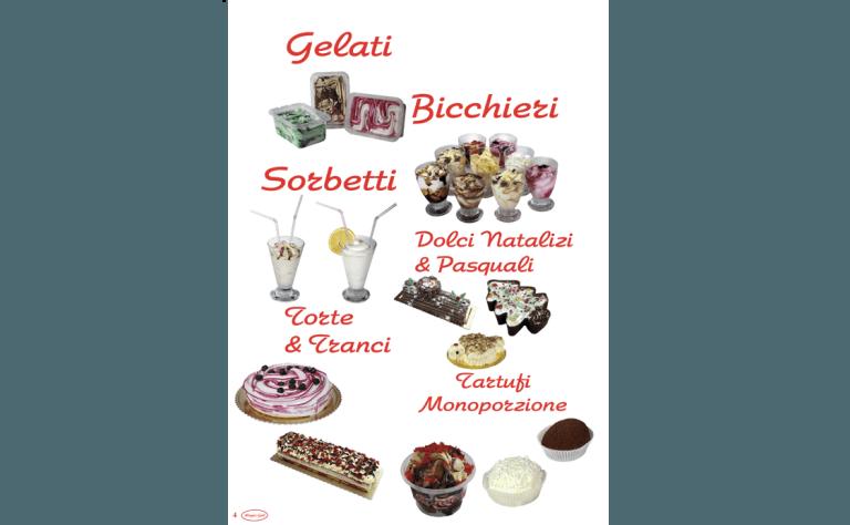 volantino con i vari prodotti dolciari