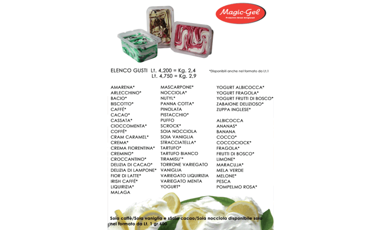 catalogo gusti vaschette gelato