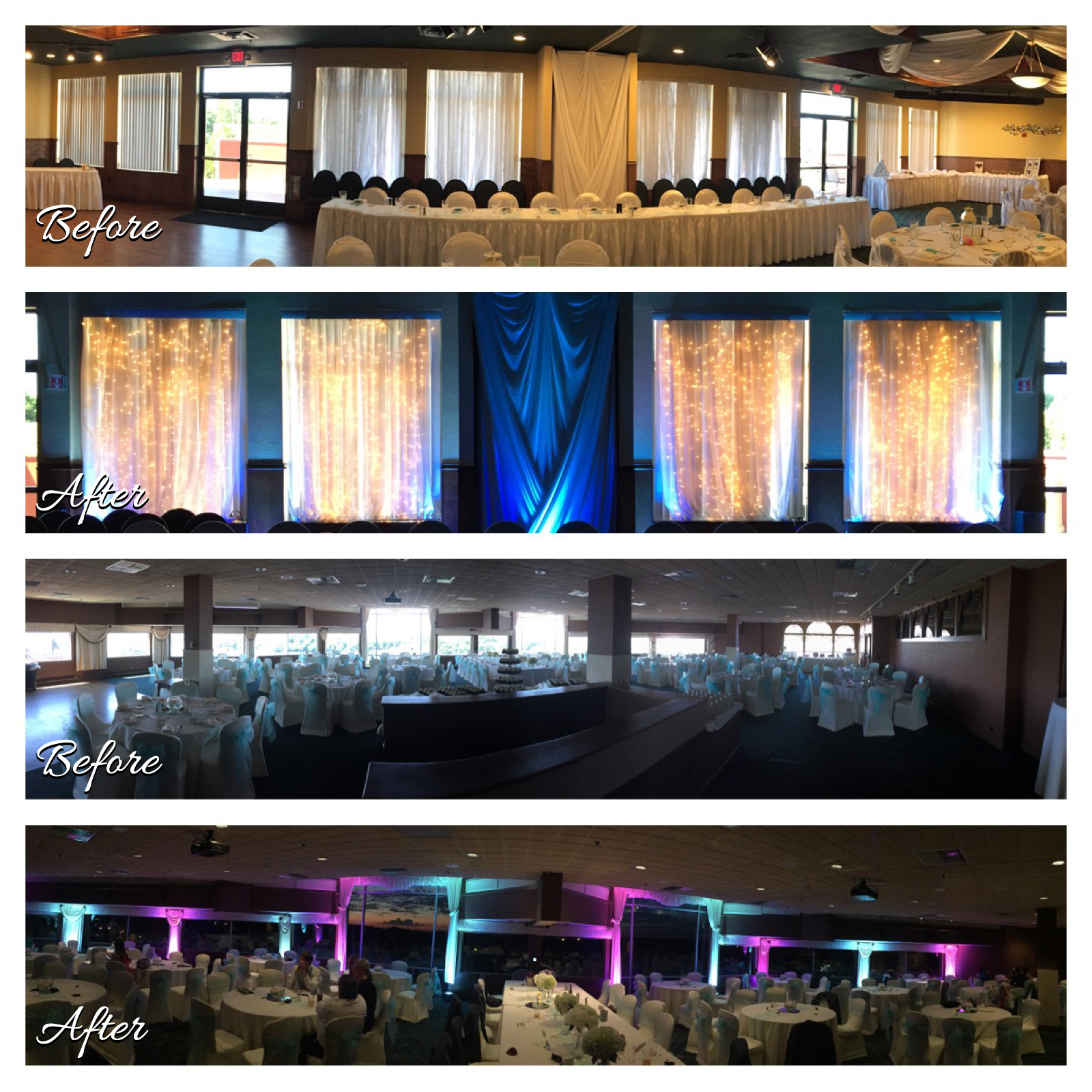Before and After, Wedding Uplighting Images