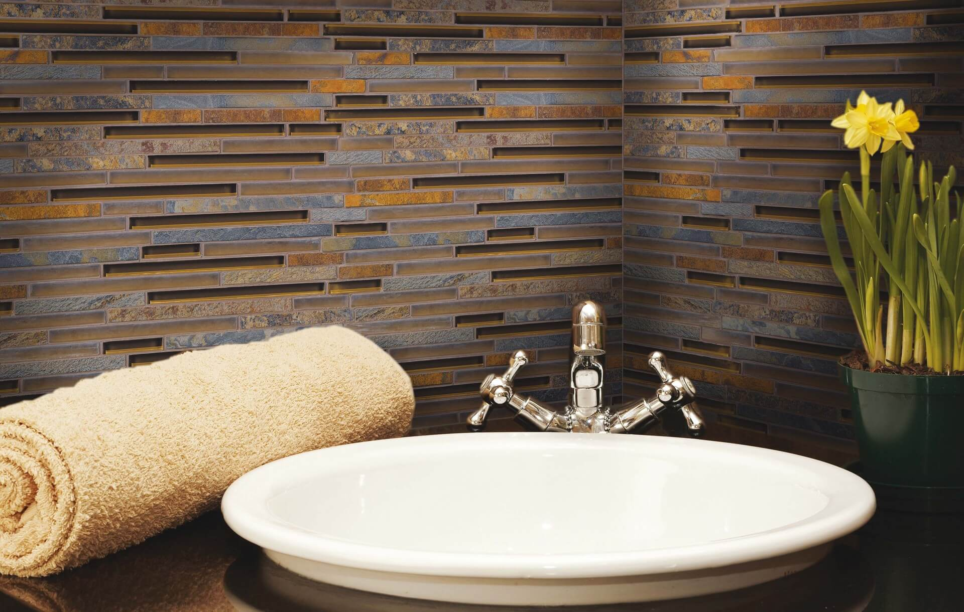 Ice rocks california gold blend bathroom tiles by Fran-Char