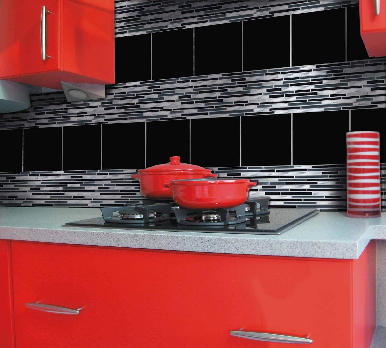 Fran-Char stix black and white mosaic tiles used as kitchen tiles
