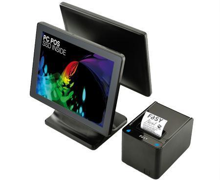 due schermi PC POS Go e accanto un altro dispositivo da cui fuoriesce uno scontrino