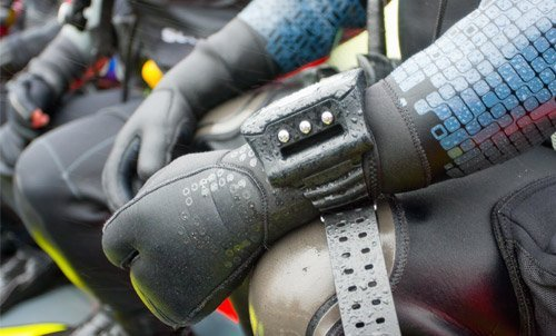 Individual wearing diving suit