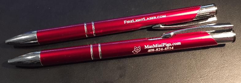 Laser engrave pens aluminum anodized metal promo