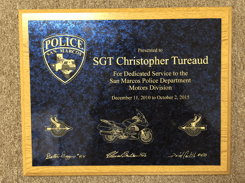 12x15 plaque with custom laser engraved motorcycle and patch artwork