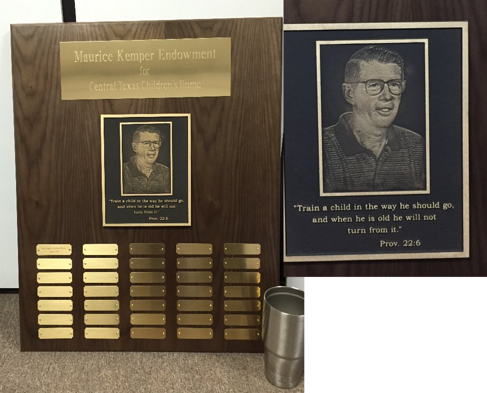Donor wall plaque solid walnut with brass photo plate - 30 oz Yeti for size reference