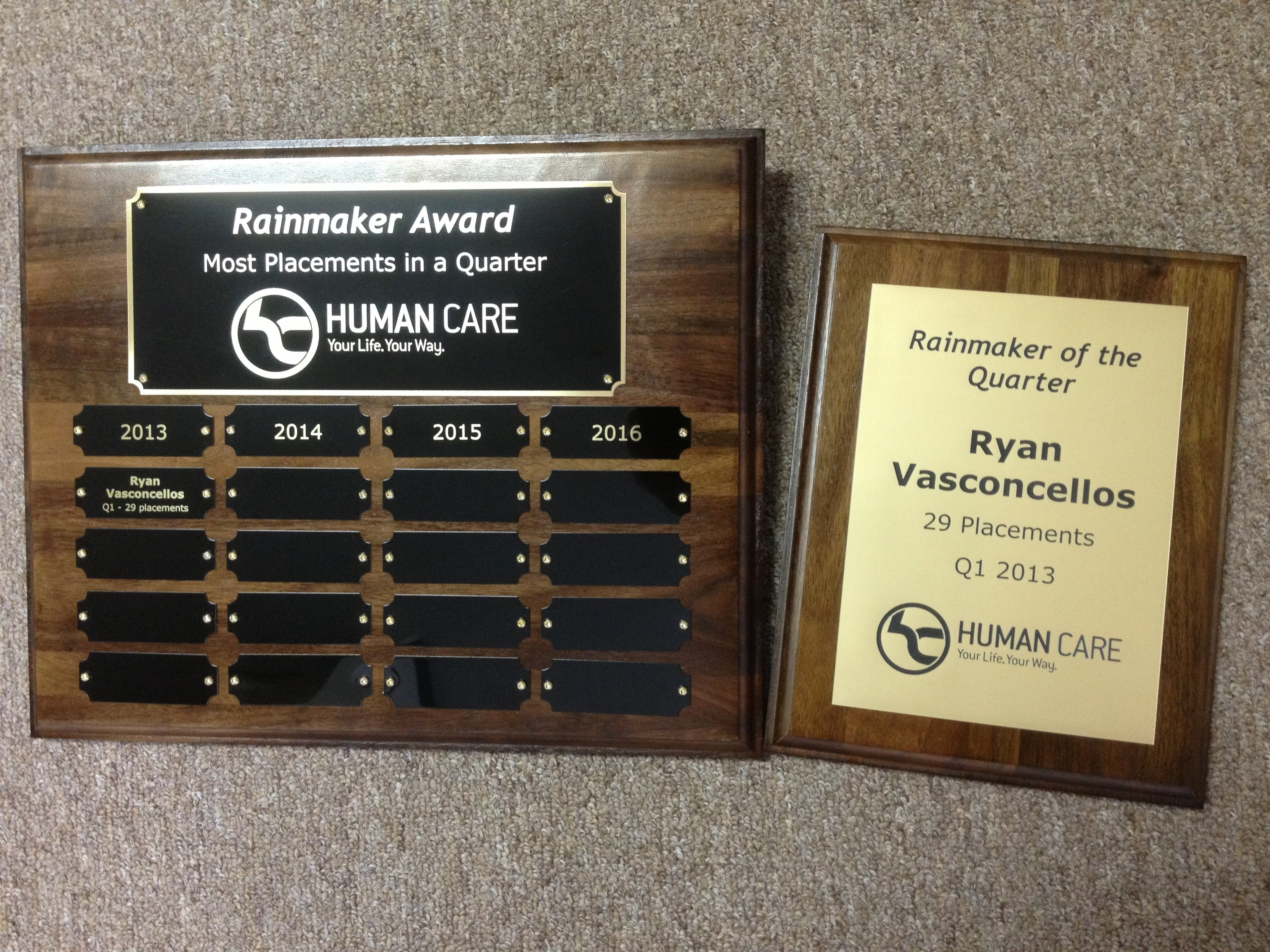 12x15 custom perpetual plaque with laser engraved plates for employee recognition program