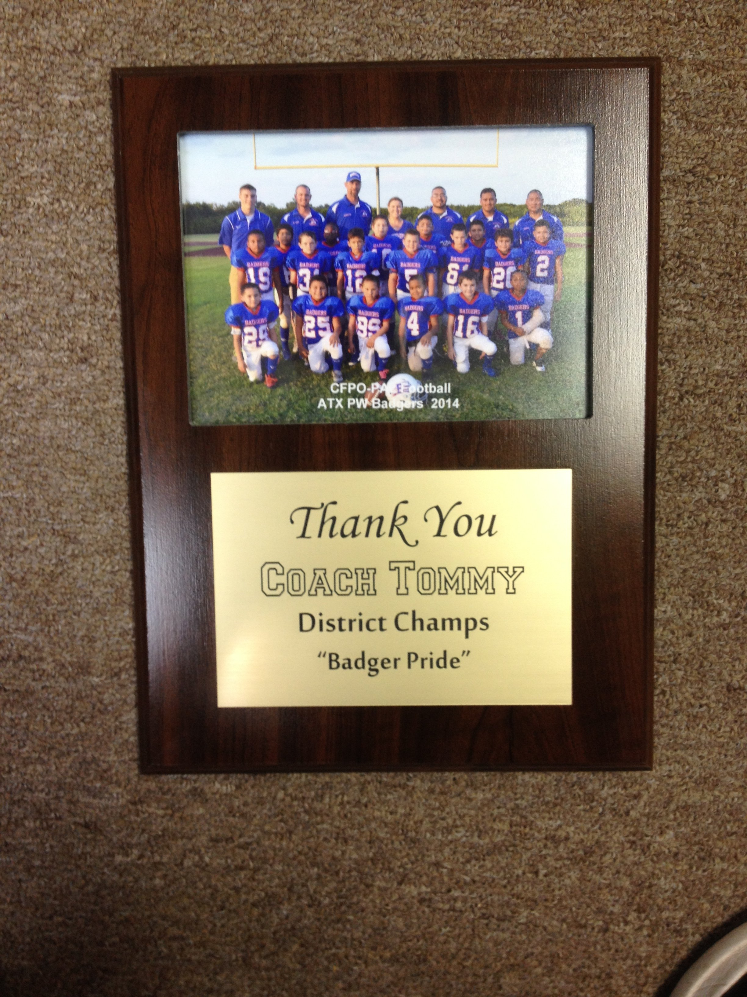 9x12 photo plaque with laser engraved plate for football coach appreciation