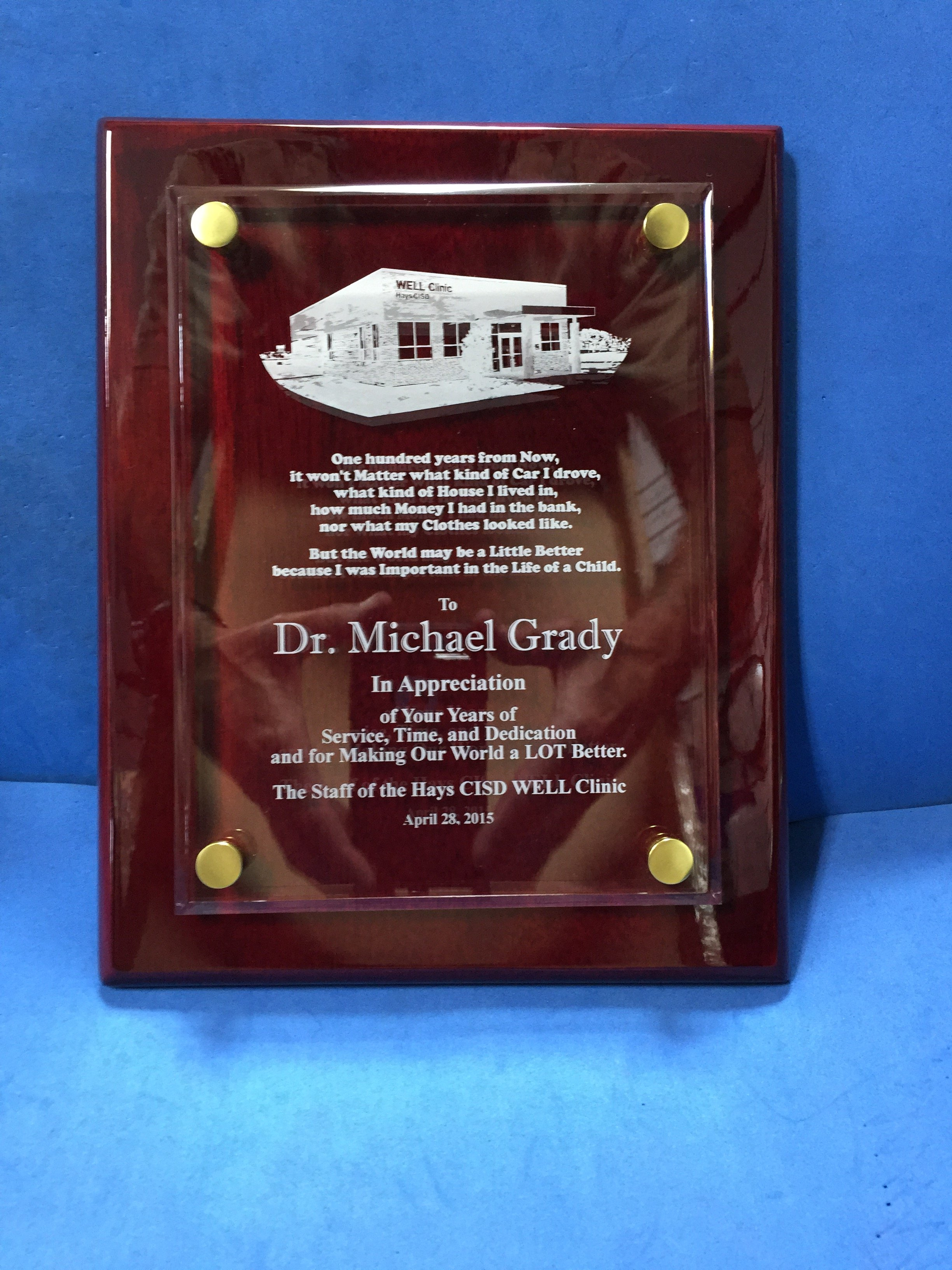8x10 rosewood plaque with laser engraved floating acrylic panel Hays CISD award