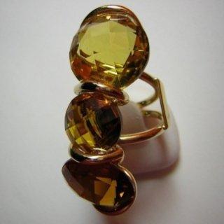 Anello oro giallo con pietre semiprezziose Quarzi