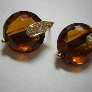Orecchini Quarzi idrotermali citrino con diamanti