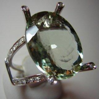 Anello in oro bianco e diamanti con Acqamarina (BERILLO)