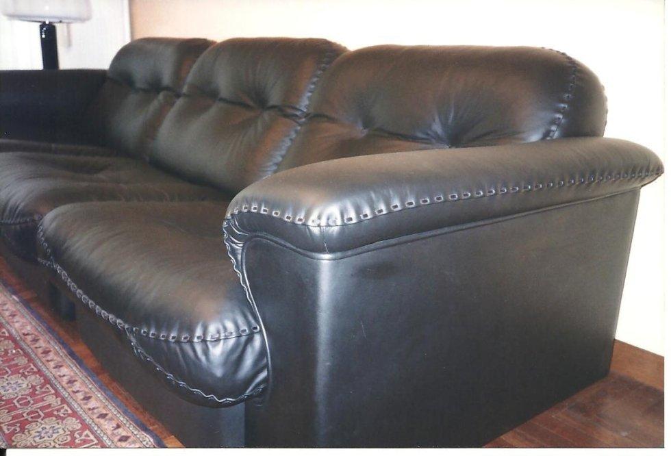 rifacimento divano in pelle con cuciture a mano