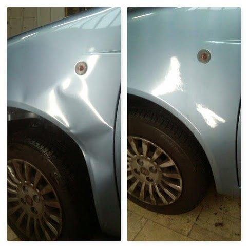 fiancata dell'auto effetto prima e dopo