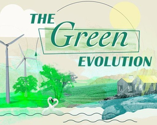 una casa in un prato, delle pale eoliche e la scritta The Green Evolution