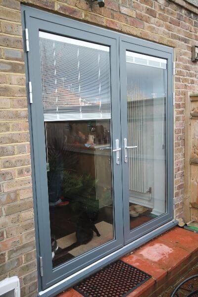 Grey patio doors