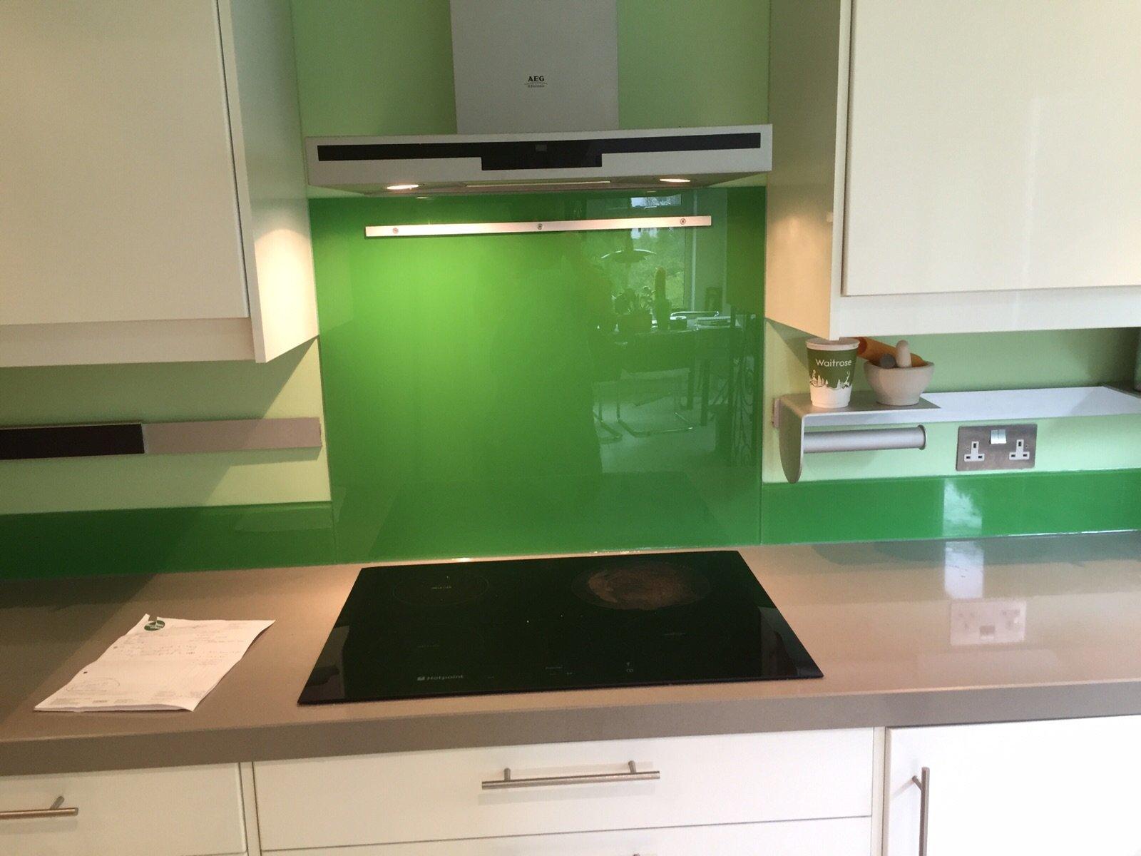Green splashback with upstand
