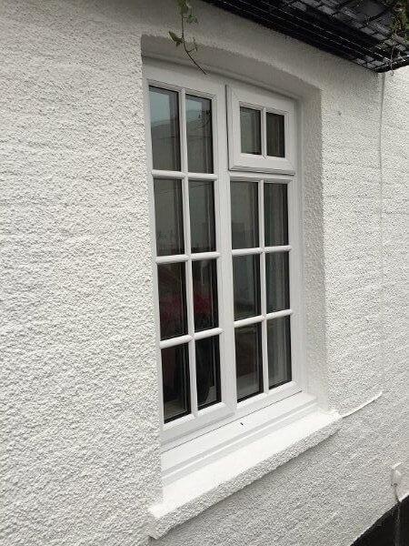 White UPVC window frame